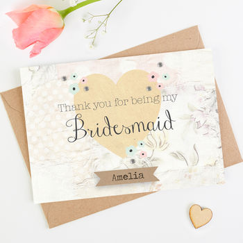Thank You Bridesmaid Card Floral Patchwork
