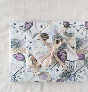 Winter Seed Pod And Rose Floral Wrapping Paper - shop by category