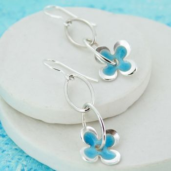 Enamelled Flower Drop Earrings