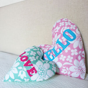 Personalised Floral Heart Cushion