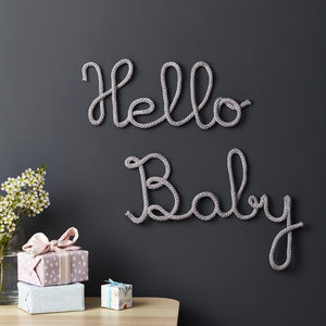 Hello Baby Knitted Sign - children's room
