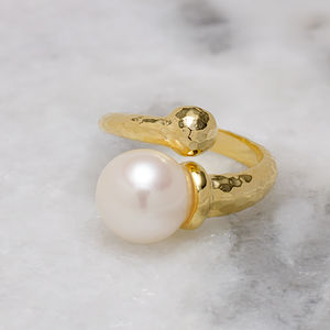 18ct Gold Vermeil Pearl Twist Boho Ring - rings