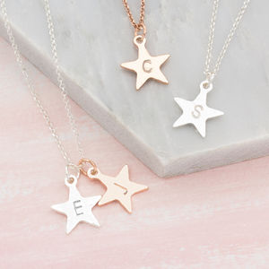 Personalised Hand Stamped Star Necklace - bridesmaid jewellery