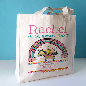 Personalised Nursery Teacher Bag Unicorn design on a canvas bag