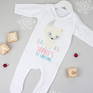Personalised First Christmas Arctic Fox Babygrow - baby's first christmas
