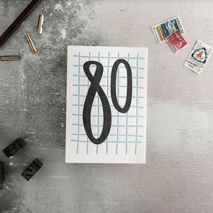 80 Tall Number Letterpress Birthday Card