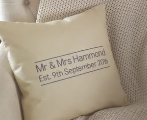 Personalised Embroidered Mr And Mrs Wedding Cushion - bedroom