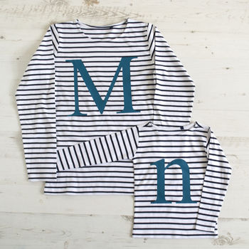 Mummy And Me Alphabet Striped Tops