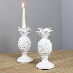 White Pineapple Candle Holder