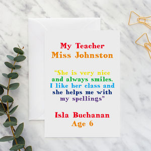 Teacher Thank You Quote Card A5 - leaving cards