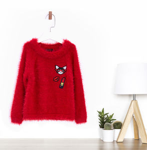 Baby Girls Furry Sweater - clothing