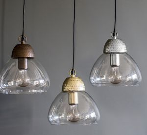 Etched Metal And Glass Pendant Lights - office & study