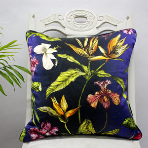 Silk Tropical Midnight Botanical Luxury Cushion - bedroom