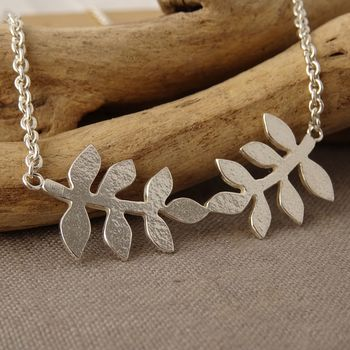 Silver Textured Fern Leaf Necklace