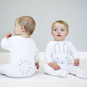 Bunny Face Baby Sleepsuit - clothing