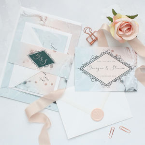 Marble Blush A5 Wedding Invitation Sample - save the date cards
