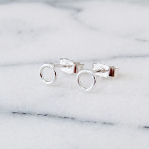 Small Silver Link Studs - earrings