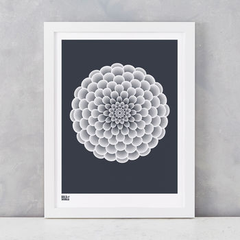 'Dahlia Pompon' Art Print In Sheer Slate