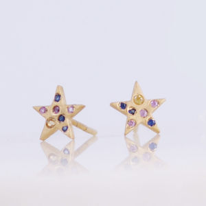 Sapphire Star Earrings - earrings