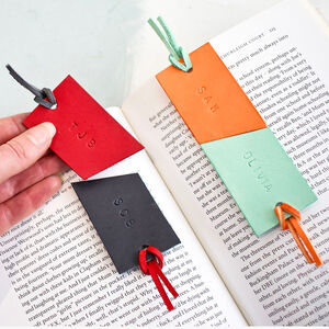 Pair Of Personalised Italian Leather Bookmarks