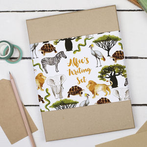 Personalised Safari Animals Children's Writing Set - stationery