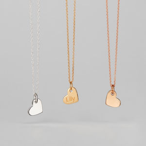 Personalised Engraved 18ct Gold Heart Pendant Necklace