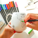 Trouvaille World Mug with colouring map and ceramic pen