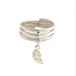 Angel Wing Charm Ring