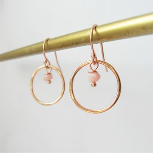Opal Rolled Rose Gold Earrings