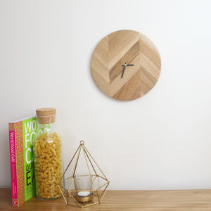 Herringbone Style Wooden Clock - dining room