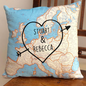 Personalised Cushion With World Map Print