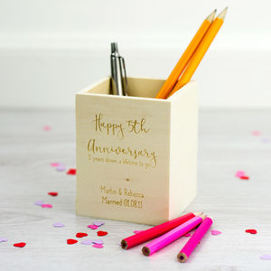 Personalised 5th Anniversary Wooden Pen Pot