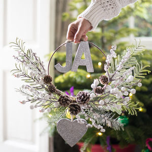 Personalised Half Wreath With Sparkle Letters - christmas decorations