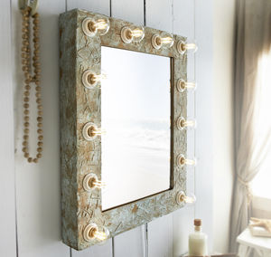 Antique Crackle Broadway Hollywood Mirror - decorative accessories