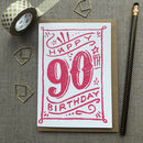 90th Birthday 90th Card Pink Chalk