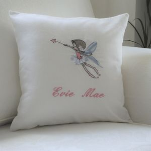 Personalise Cushion With Flying Fairy Motif