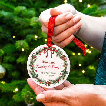 Personalised Mummy Daddy Bump Christmas Decoration