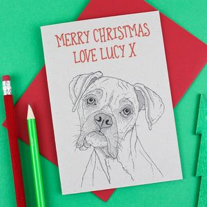 Boxer Dog Personalised Christmas Card