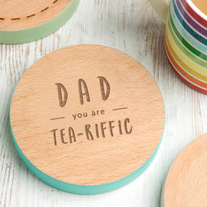 'Dad, You Are Tea Riffic' Coloured Edge Coaster - kitchen