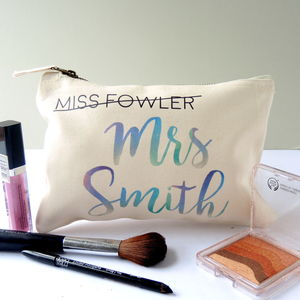 Personalised Miss Mrs Bride's Make Up Bag