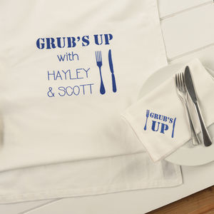 Personalised Grub's Up Table Linen Gift Set
