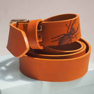 Tan Leather Belt With Engraved Stag Beetle - belts