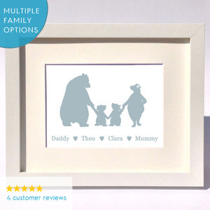 Personalised Bear Family Print Gift - nursery pictures & prints