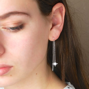 Silver Star Threader Earrings - gifts for her