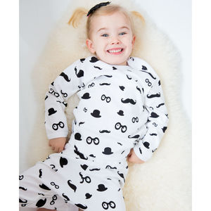Moustache Pattern Kids Pyjamas By Snuglo™ - children's nightwear