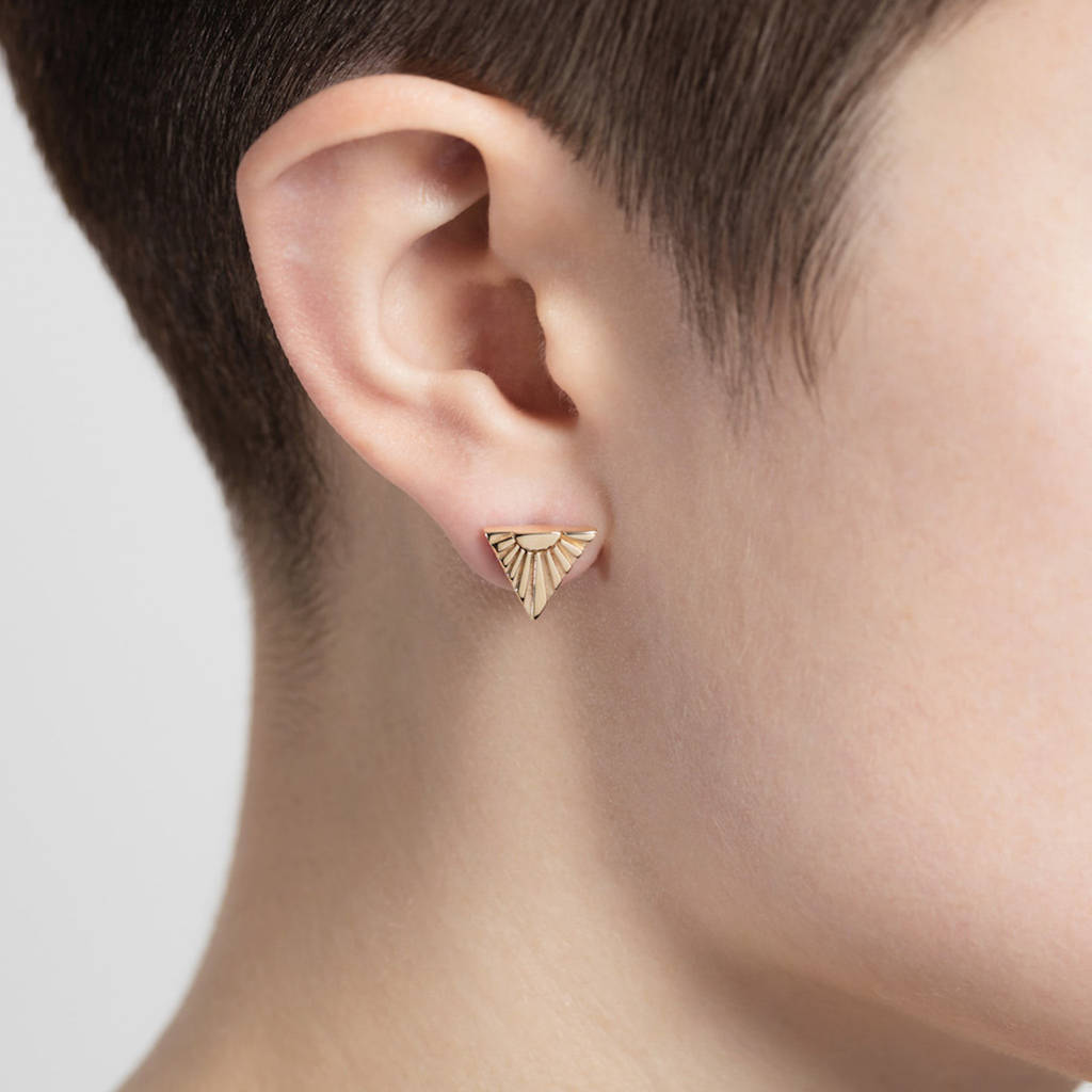 Gold Ray V Ear Studs