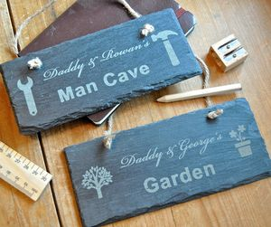 Personalised Daddy And Me Slate Sign - decorative accessories
