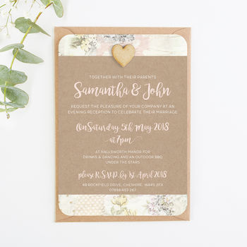 Kraft Floral Patchwork Evening Invite