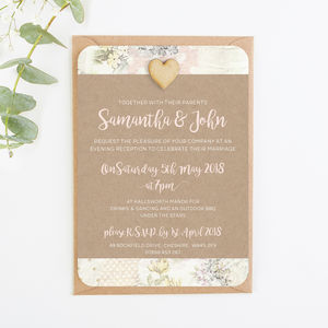 Kraft Floral Patchwork Evening Invite - cards & invitations