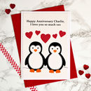 'Penguins' Personalised Anniversary Card